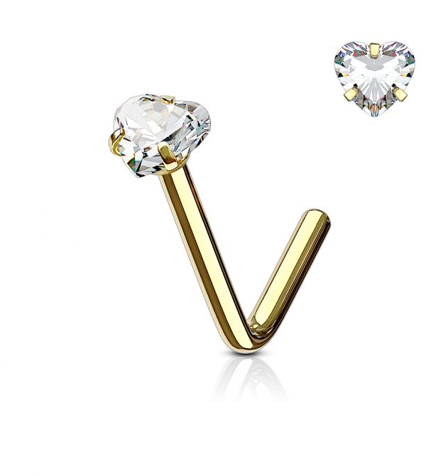 "Heart CZ Prong Set ""L"" Bend Nose Stud Rings"