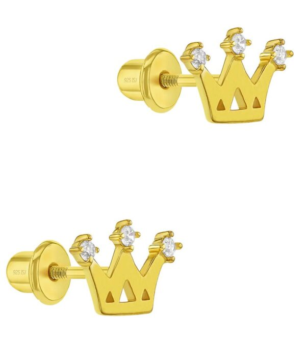 Clear Zirconia Princess Crown Screw Back