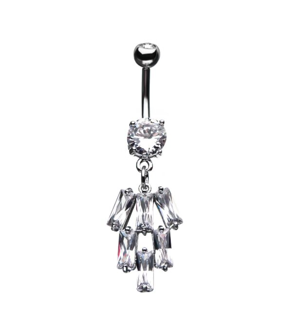 6 Rectangle Clear CZ Dangle Charm Belly Ring