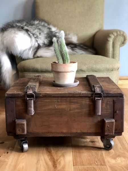 Rustic Coffee Table Storage Side Table Vintage Wooden Trunk