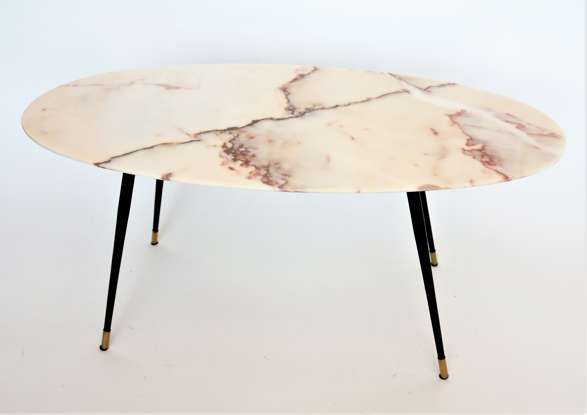 Italian Midcentury Coffee Table With Pink Marble And Brass Feet