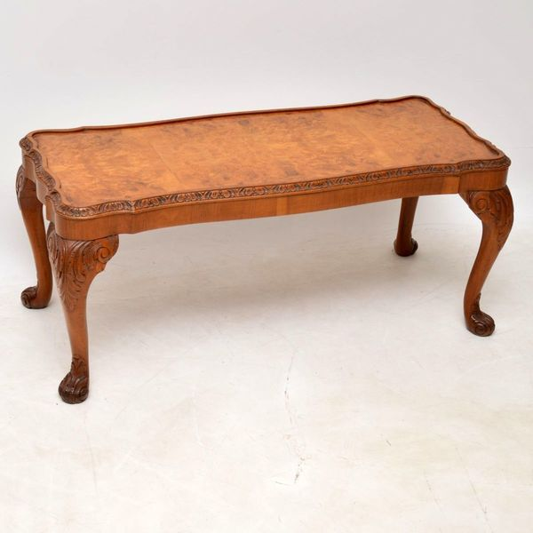 Antique Burr Walnut Queen Anne Coffee Table Vinterior