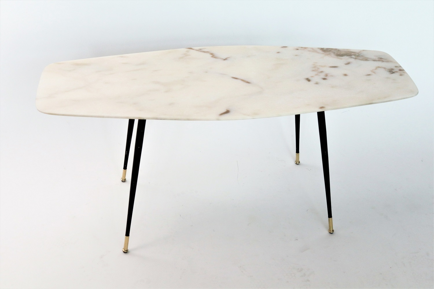 Italian Midcentury Coffee Table With Pink Marble And Stiletto