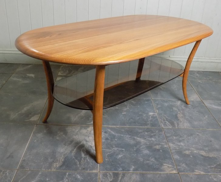 Ercol Coffee Or Side Table Oval With Glass Shelf Lucian