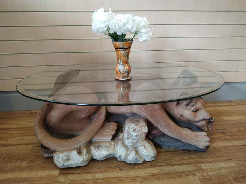 Vintage Coffee Table Oval Glass Top Mountain Lion Cougar Resin
