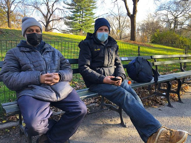 Hector Escalera and Wolfgang Zernicke, two homeless friends who are trying to get into the city's stabilization bed program
