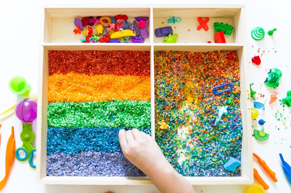 DIY colored rice is so simple to make and wonderful for toddler sensory play, color-matching games, and more! | via barley & birch