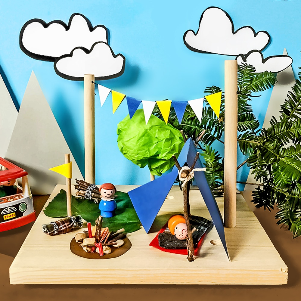 Make a camping small world setup with our simple scrap wood and dowel rod DIY Thingamaboard toy! A wonderful imagination-builder for kids. | via barley & birch