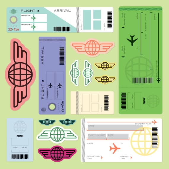 Free printable play plane tickets for kids. Perfect practice for first plane trips - or just for pretend fun via barley & birch