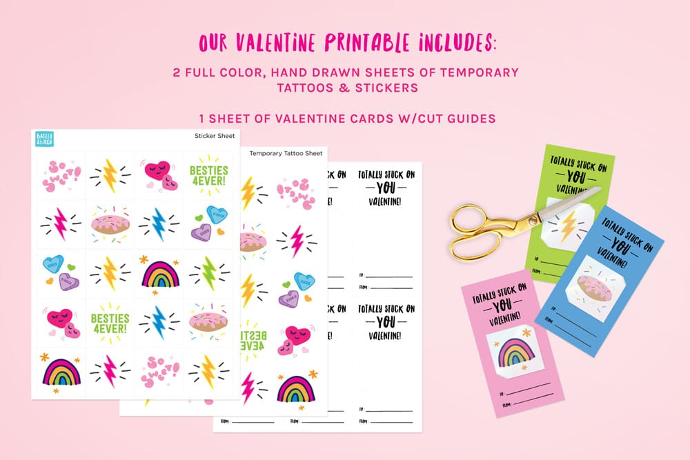 Temporary Tattoo Valentine Printables for Kids via barley & birch