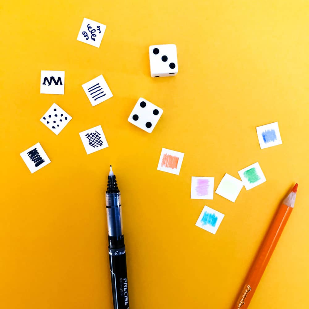Make your own scribble dice in minutes! A fun way for kids to explore mark-making, pattern and color