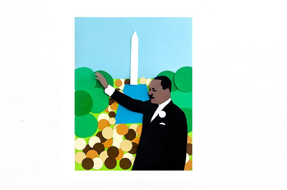 This collage from simple shapes is a wonderful way to discuss the history behind MLK, Jr. Day while exploring an iconic image.