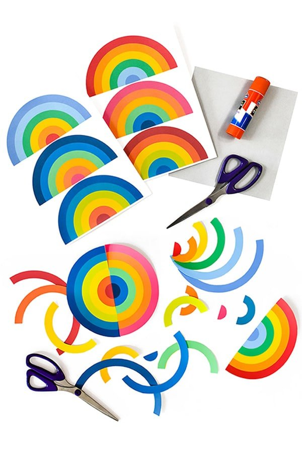 This bold modern art project for kids deconstructs rainbows to create bright & colorful collages inspired by Frank Stella!