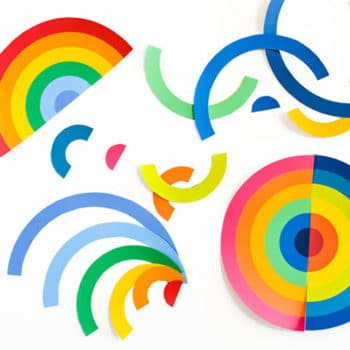 This bold modern art project for kids deconstructs rainbows to create bright & colorful collages inspired by Frank Stella