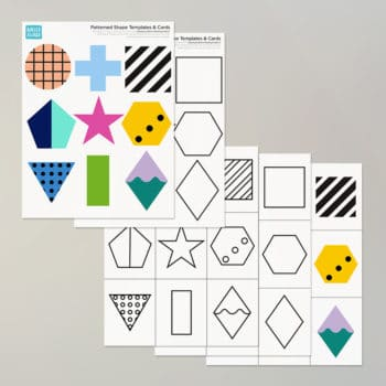 Our printable pack of geometric shapes has 5 patterned, colorful and modern variations on classic simple shapes for endless learning uses, games and more.