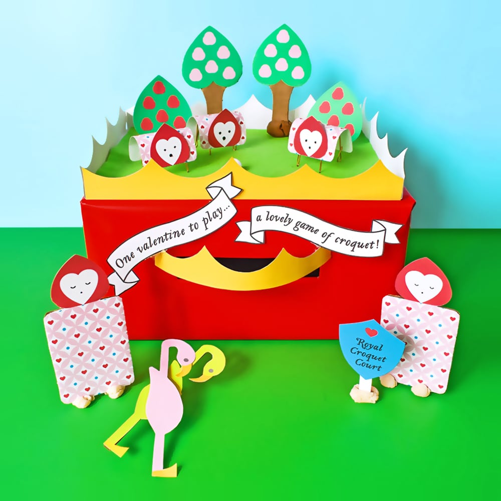 This fun Alice in Wonderland themed DIY Valentine Box doubles as a tabletop croquet game