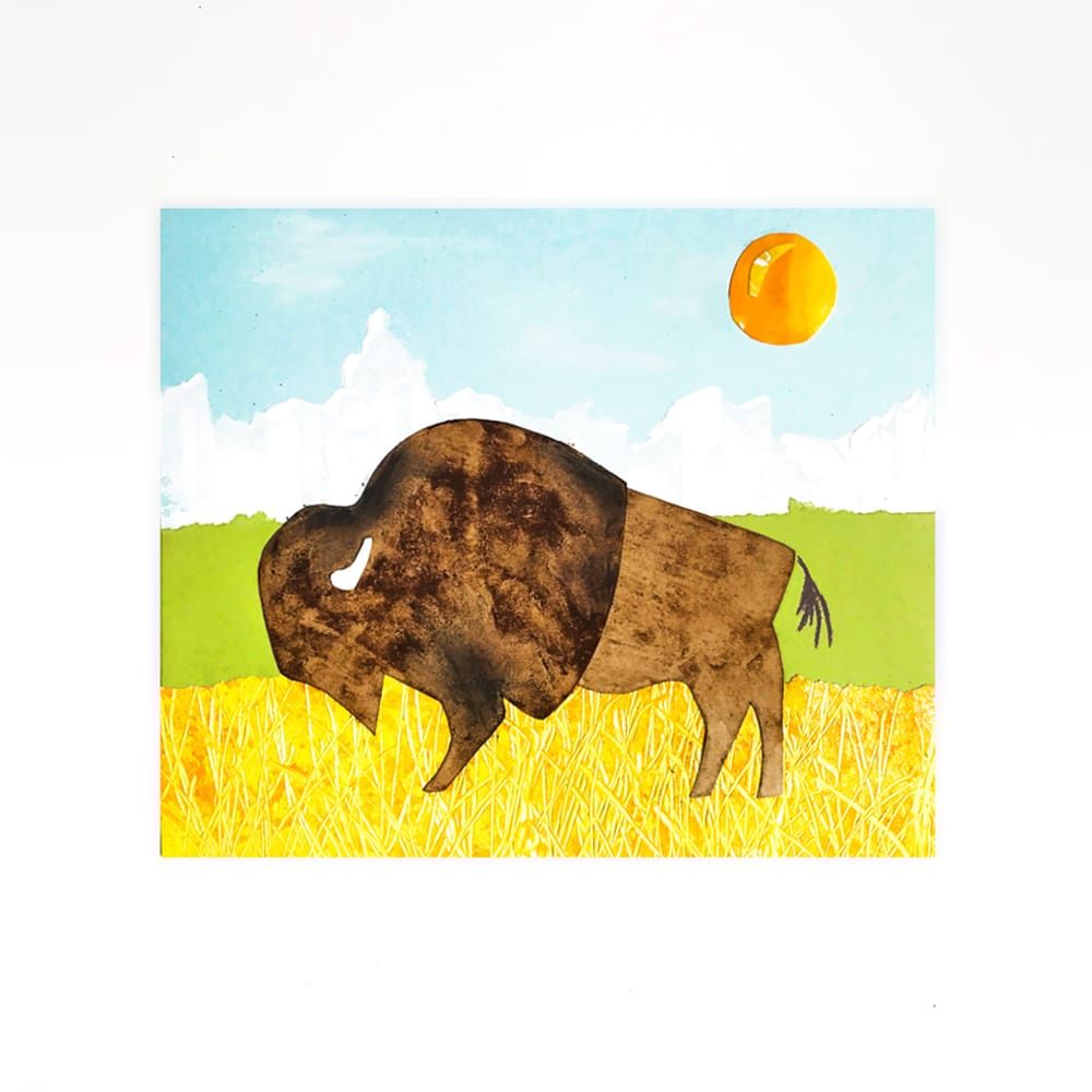 This lovely bison art project for kids uses coffee grounds and unique painting techniques for a wonderful mixed media art lesson! | via barley and birch