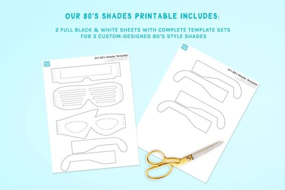 Eighties Style Sunglasses Printable Preview