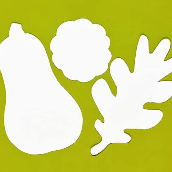 Draw some gourds and leaves or use our templates | Halftone gourd & leaf collage instructions