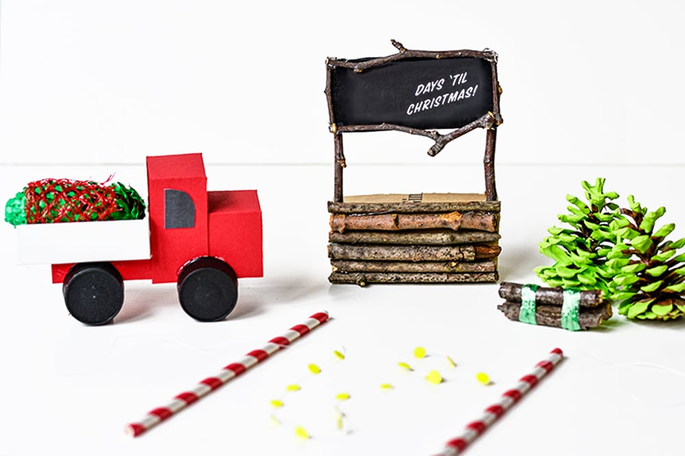 Add details like a truck, twinkle lights or log bundles to your winter scene.