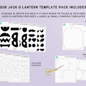 A preview of our printable Jack-o-lantern activity template pack