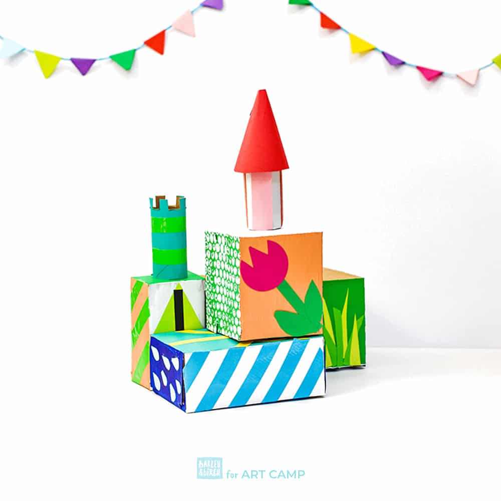 These colorful spring-themed castle inspired by artist Theresa Burga are a deliciously fun invitation to create and build for kids! | barley & birch for ART CAMP