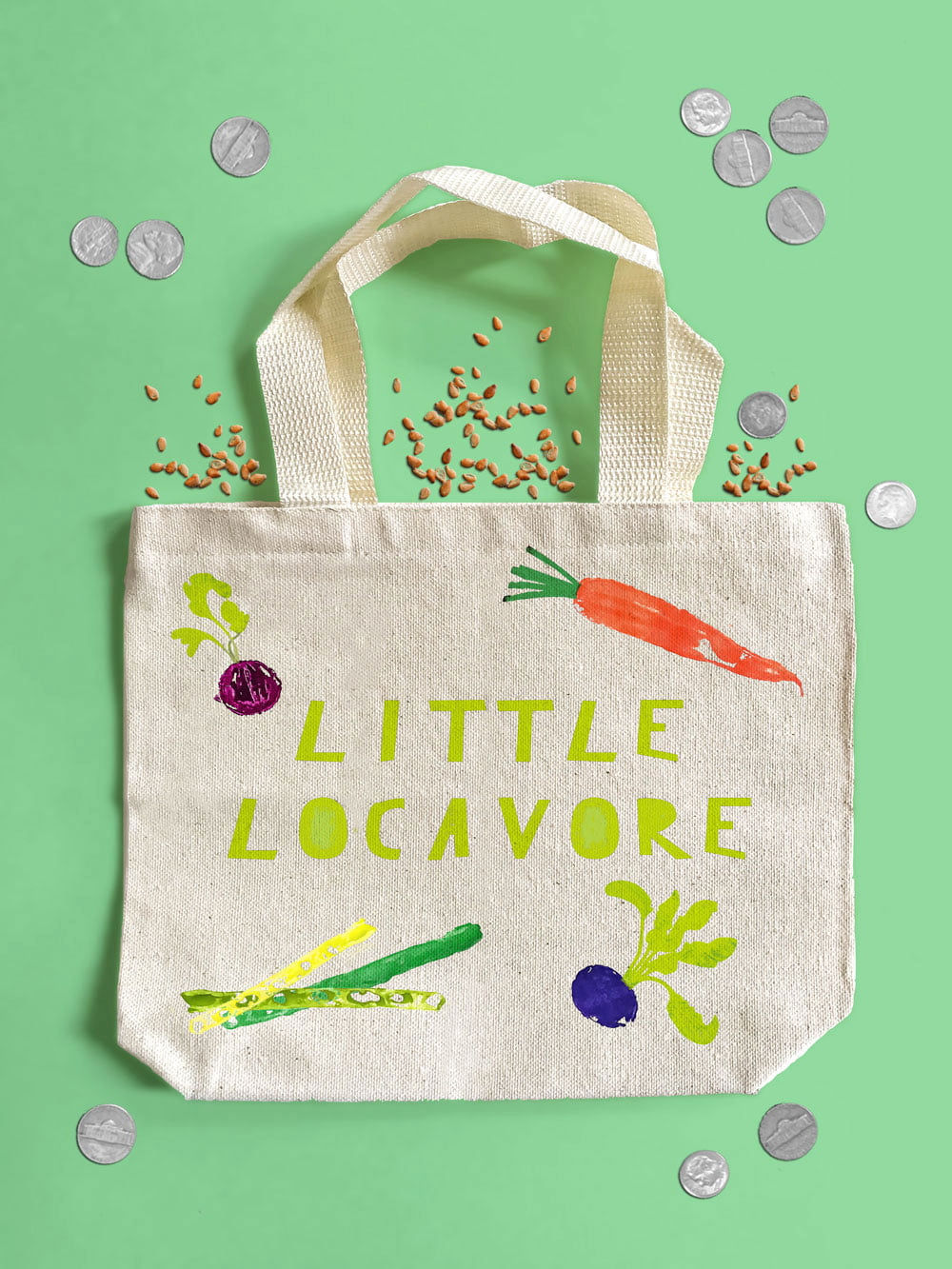 Make a DIY vegetable stamped kids tote for the farmer's market!