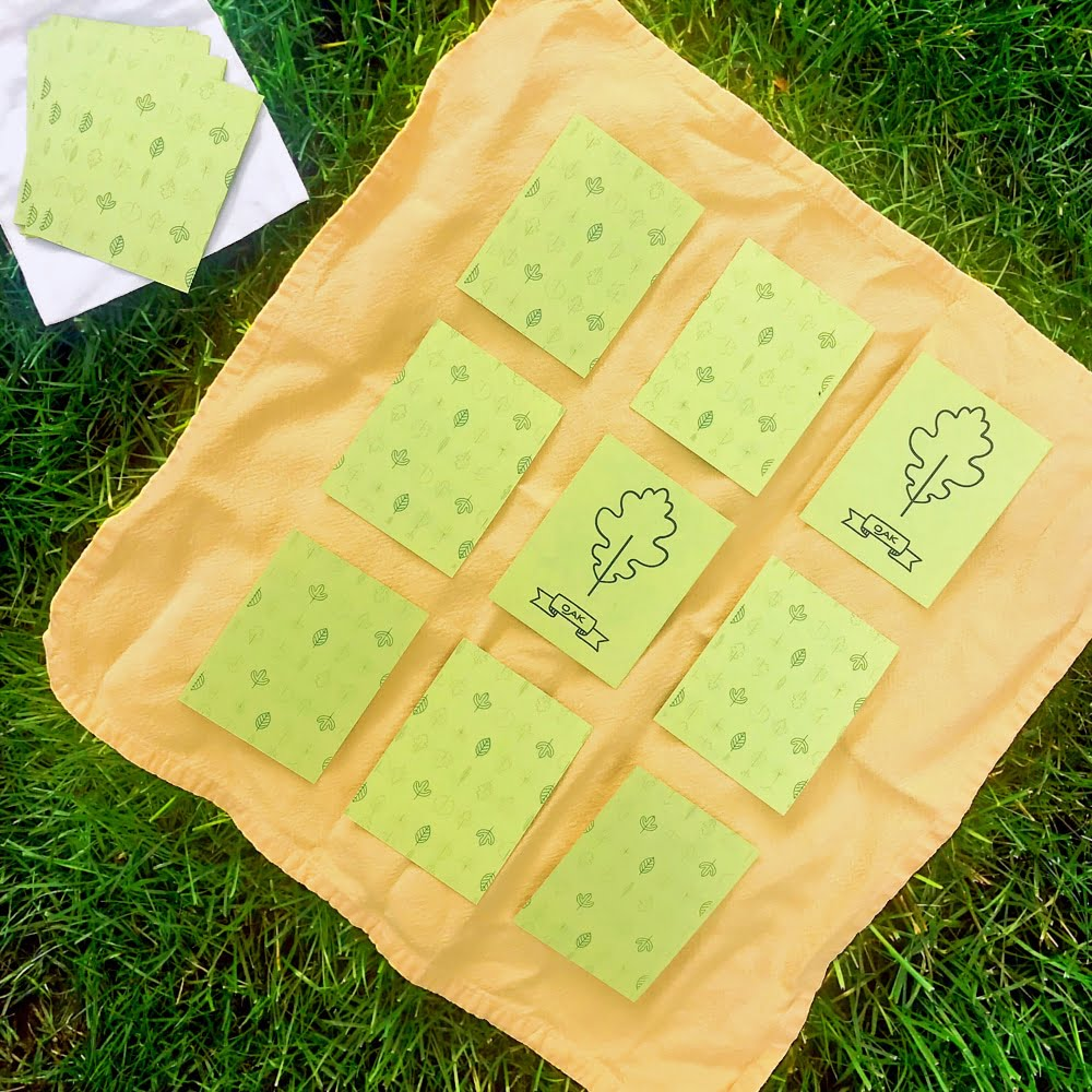 Create a DIY nature memory game with our free printable leaf activity kit cards | via barley & birch