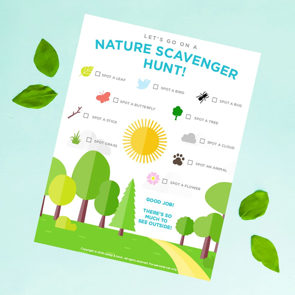 Our free printable nature scavenger hunt is the perfect on-the-go activity for kids outdoor play and exploration! | via barley & birch