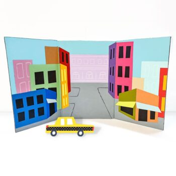 This foldout cardboard city landscape book is an art project and reusable play backdrop all in one! | via barley & birch