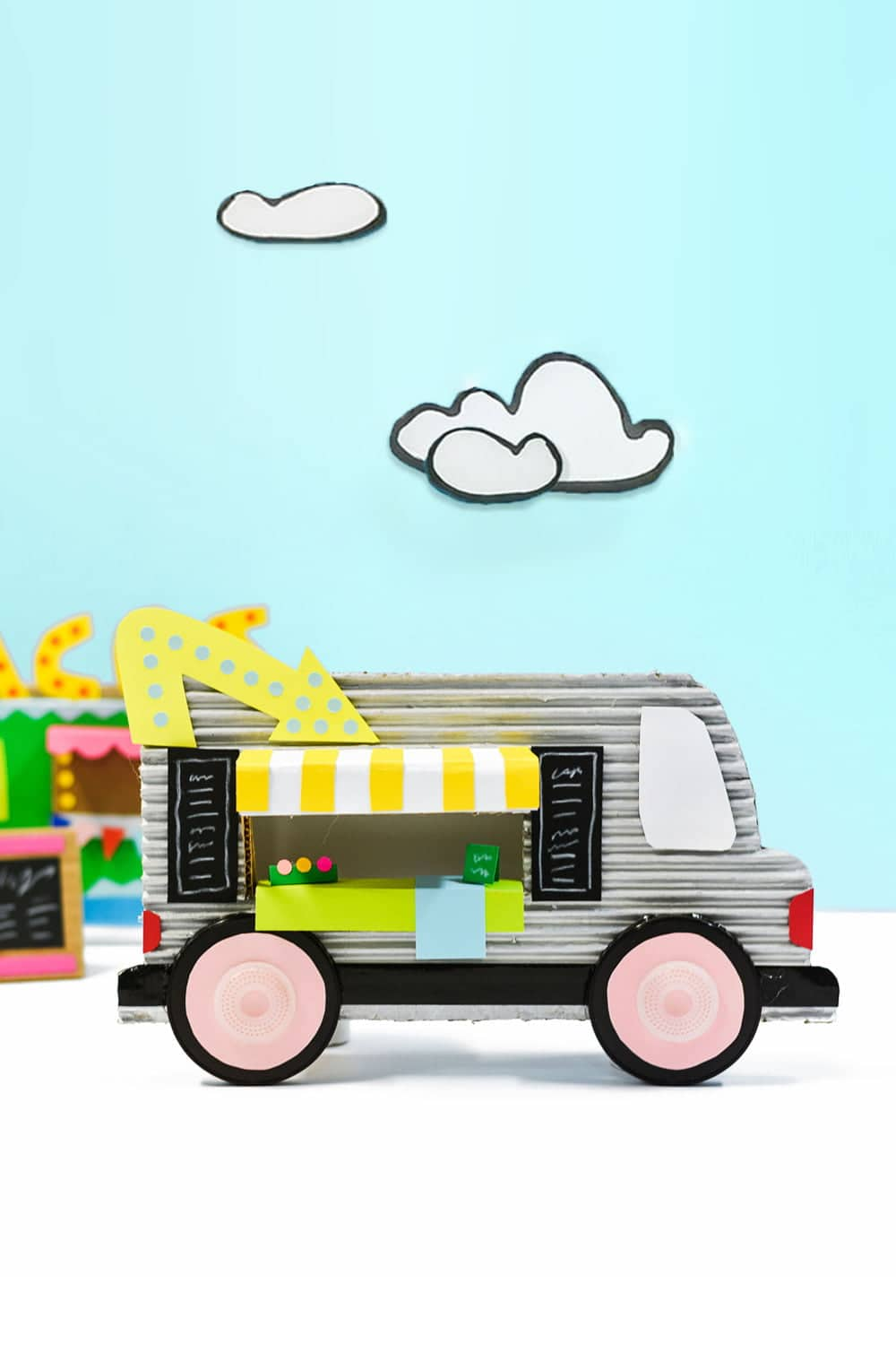 Design your own adorable food truck with cardboard, paper and recycled bits and pieces - a creative kids art project! | via barley & birch