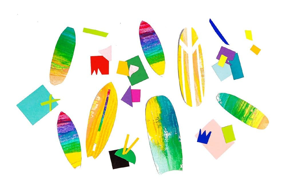Decorate your scrape painted surfboards with paper scraps, tape or other craft supplies