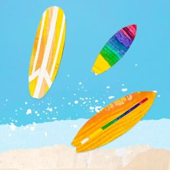 These stand-up surfboard scrape paintings are a fun way way to experiment with art processes and the perfect summer kids craft! | via barley & birch