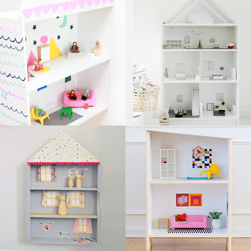 A collection of modern upcycled DIY bookcase dollhouses for kids | via barley & birch