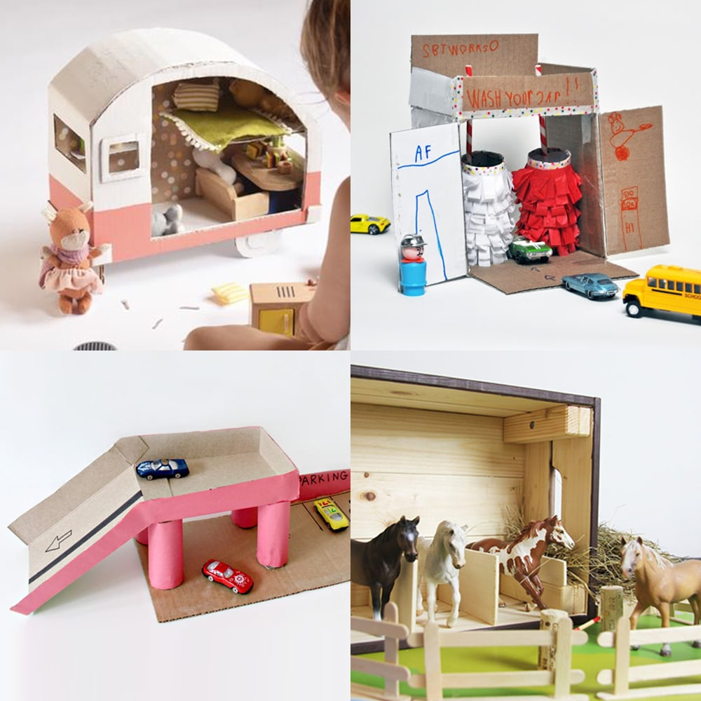 A collection of modern upcycled DIY dollhouse extras for kids | via barley & birch