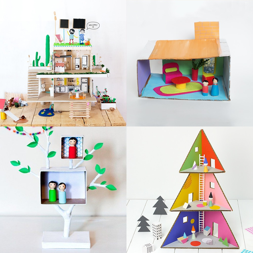 A collection of modern DIY dollhouses made from recycled supplies | via barley & birch