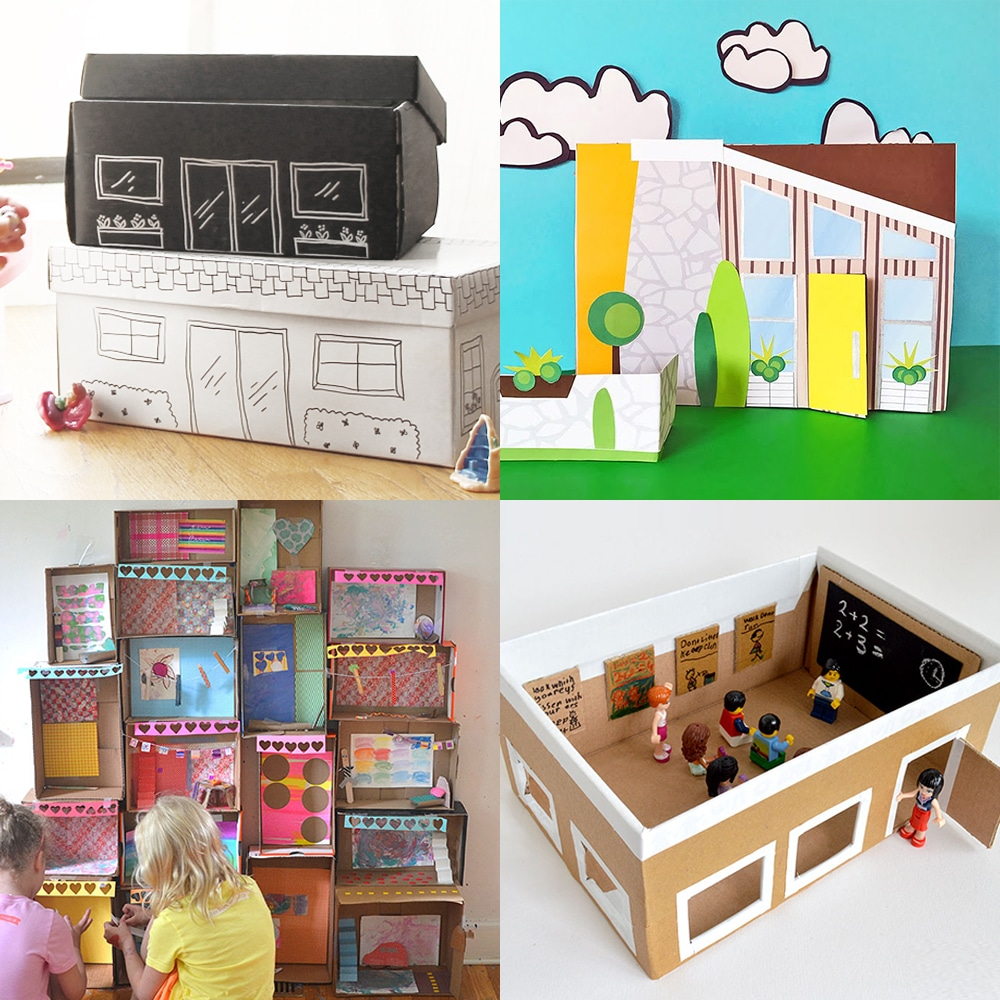 A collection of modern DIY dollhouses made from shoeboxes | via barley & birch
