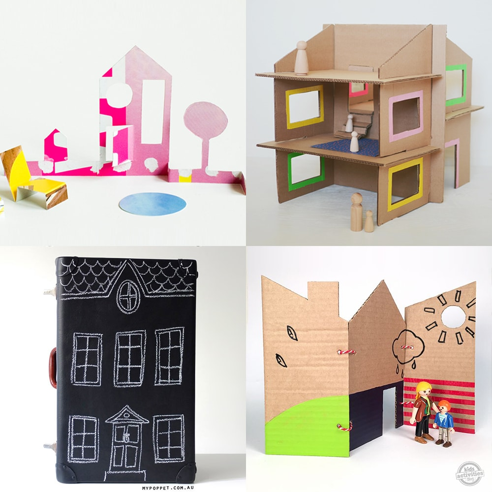 A collection of modern DIY fold-up dollhouses made from recycled supplies | via barley & birch