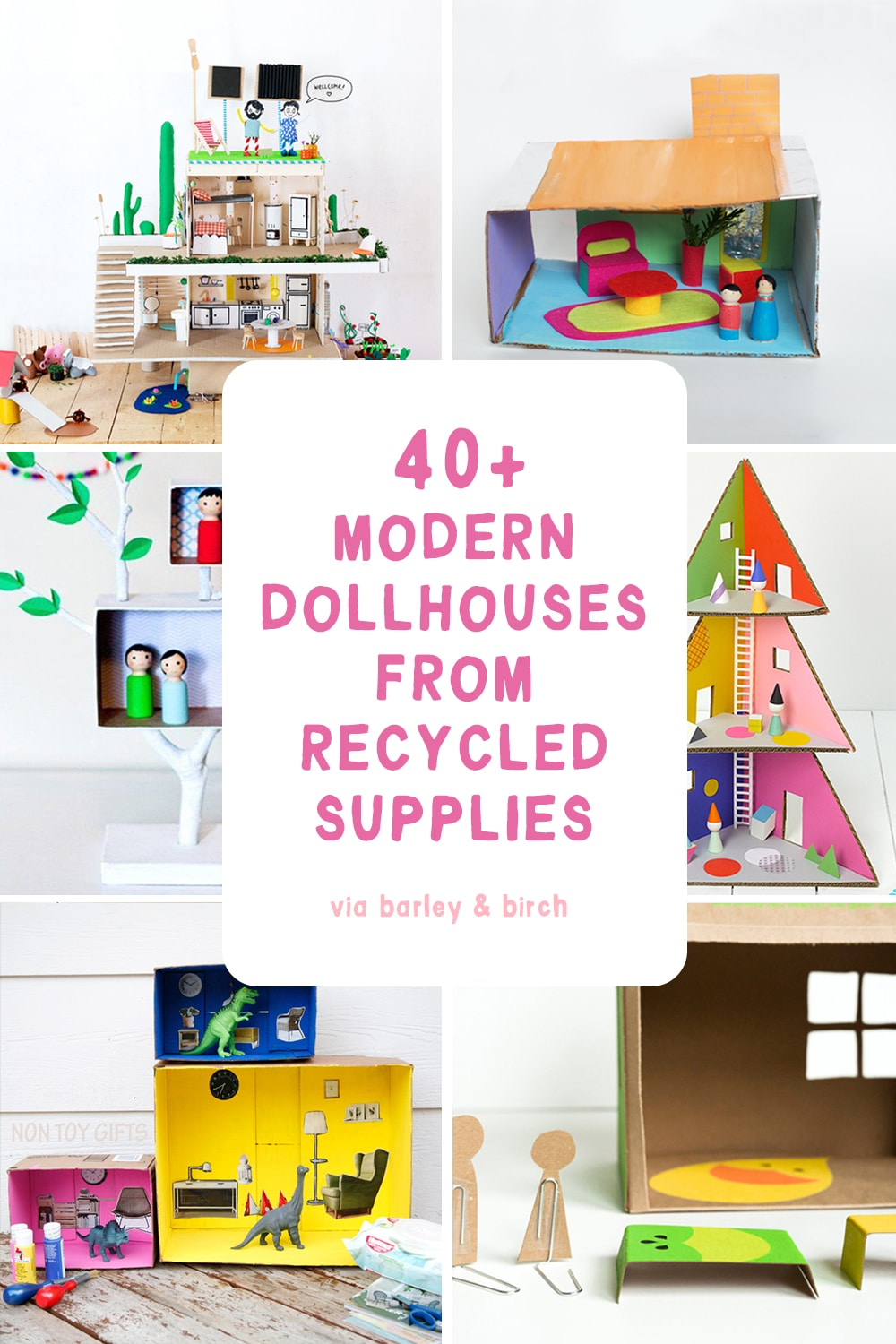 A big collection of our favorite kid-made modern DIY upcycled dollhouse ideas! | via barley & birch