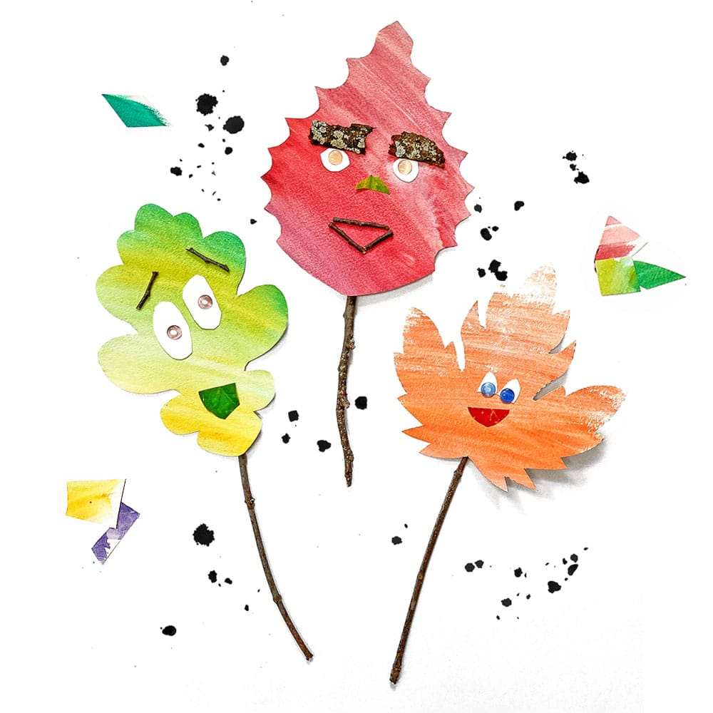 DIY leaf stick puppets made with paper scraps and nature supplies! | via barley & birch