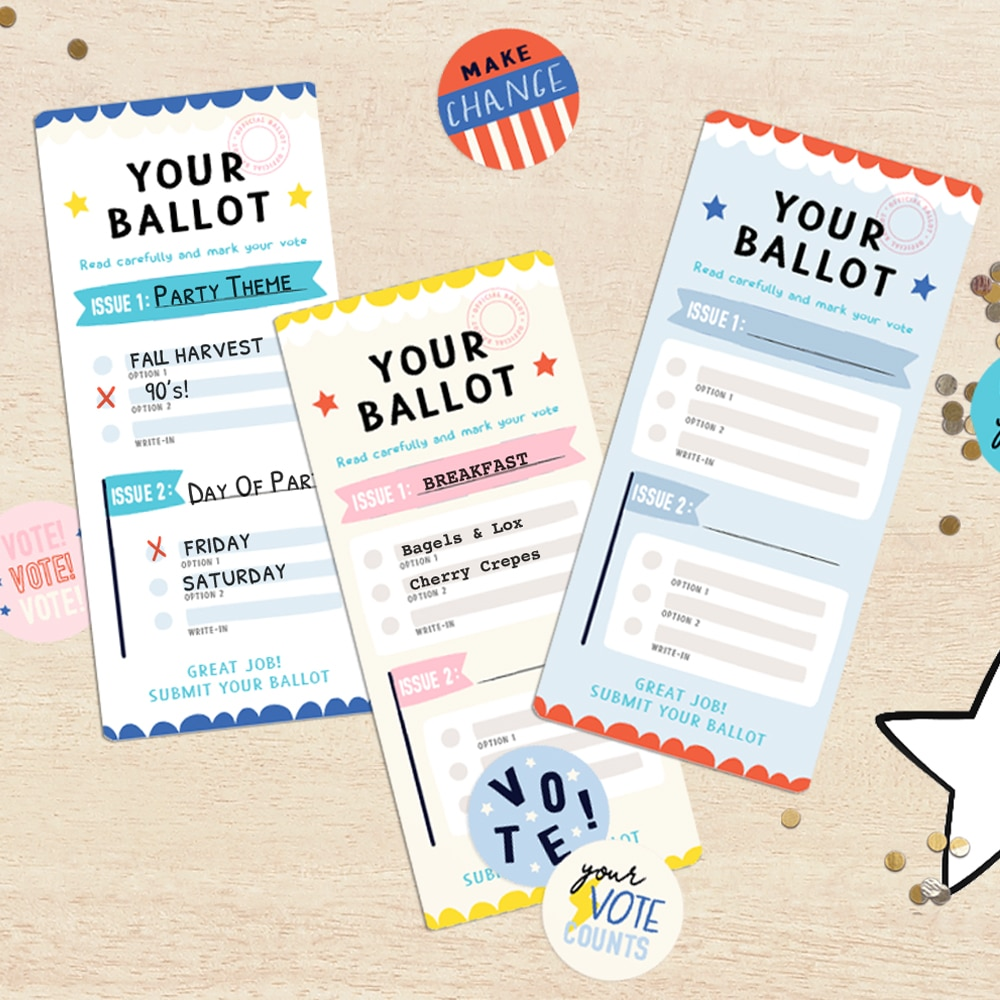 Use our free printable (and customizable!) kids ballots to help little ones learn about voting and elections | via barley & birch