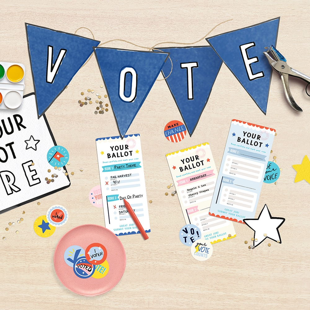 Our free printable voting kit is the perfect way to introduce your kids to the election process! | via barley & birch