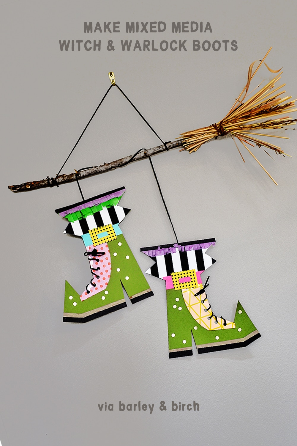 Kids will love designing their own pair of witch or warlock boots for this creative mixed media Halloween art project! | via barley & birch