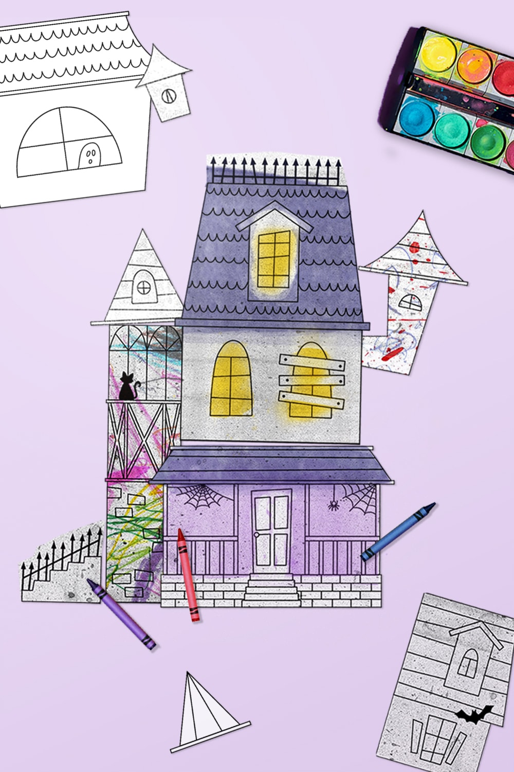 Your kids can design and color or decorate their very own Halloween home with this mix and match haunted house printable kit! via barley & birch