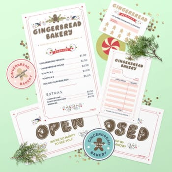 DIY Gingerbread Play Bakery Forms and Signs