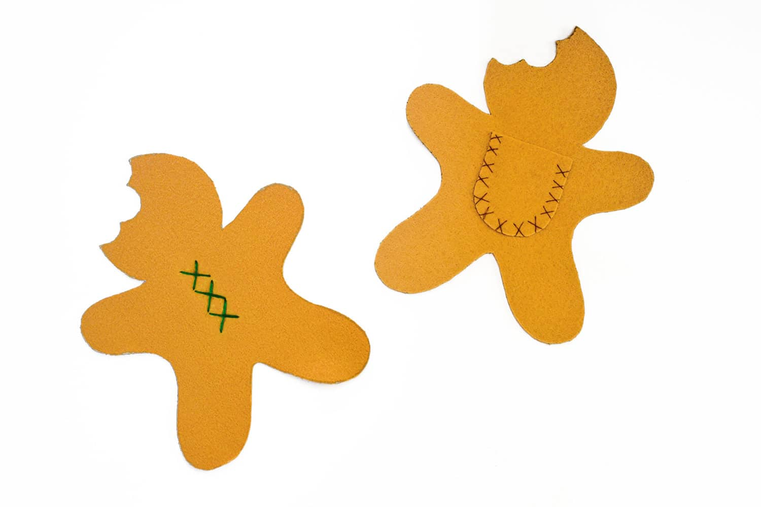 Stitch details or add a pocket onto the flat pieces of your gingerbread man softie. | via barley & birch