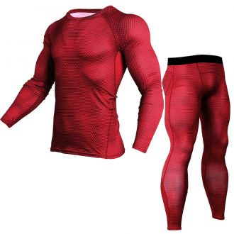 Men's Sports Running Set Compression Shirt + Pants Skin-Tight Long Sleeves Quick Dry Fitness Training Clothes Gym MMA Yoga Suits