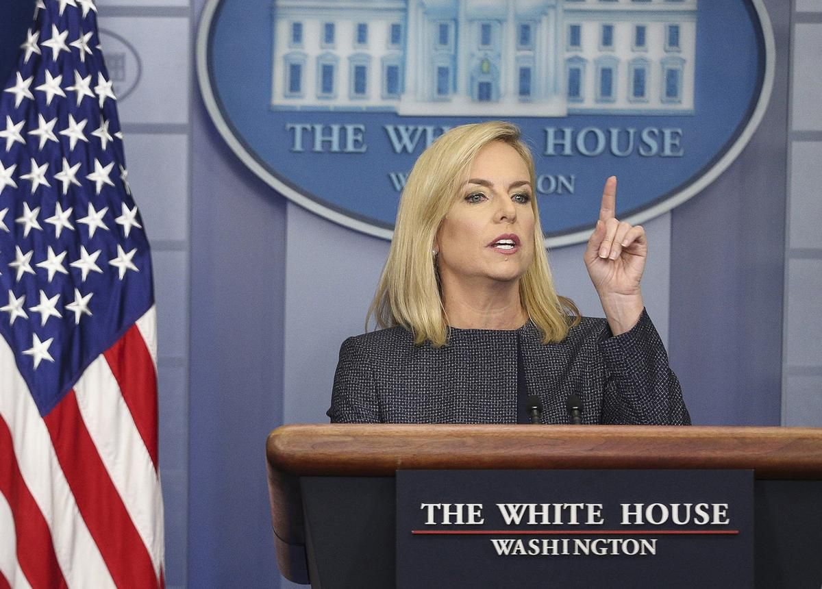 "Homeland Security Secretary Kirstjen Nielsen speaks during the daily news briefing in the Brady Press Briefing Room at the White House on June 18, in Washington, D.C. Homeland Security said Saturday that current and past receipt of certain public benefits above thresholds would be considered ""a heavily weighed negative factor"" in granting green cards as well as temporary stays for U.S. migrants."