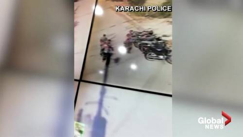 Security camera footage shows gunman storm Chinese consulate in Karachi