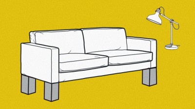 Sofa with light on a yellow background